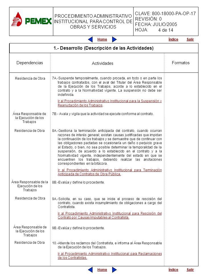PROCEDIMIENTO ADMINISTRATIVO INSTITUCIONAL PARA CONTROL DE OBRAS Y SERVICIOS CLAVE: 800-18000-PA-OP-17 REVISIÓN: 0 FECHA: JULIO/2005 HOJA: Home Salir Índice Home Salir Índice 11.-Aplica, cuando proceda, retenciones y/o penalizaciones de acuerdo a lo establecido en el contrato.