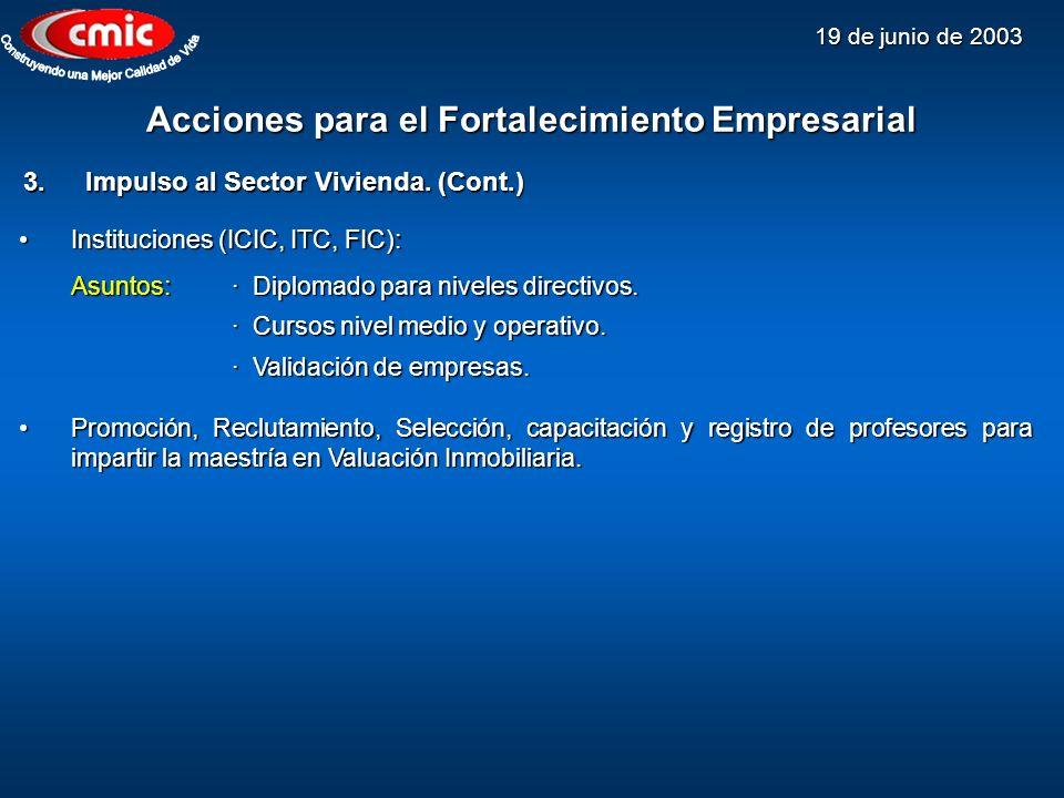 19 de junio de 2003 Acciones para el Fortalecimiento Empresarial 3.Impulso al Sector Vivienda. (Cont.) Instituciones (ICIC, ITC, FIC):Instituciones (I