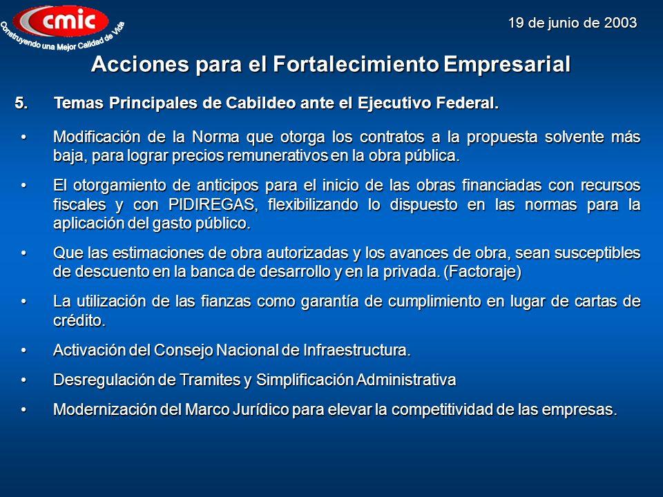 19 de junio de 2003 Acciones para el Fortalecimiento Empresarial Modificación de la Norma que otorga los contratos a la propuesta solvente más baja, p