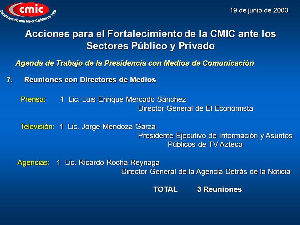 19 de junio de 2003 Acciones para el Fortalecimiento de la CMIC ante los Sectores Público y Privado 7.Reuniones con Directores de Medios Prensa: 1 Lic
