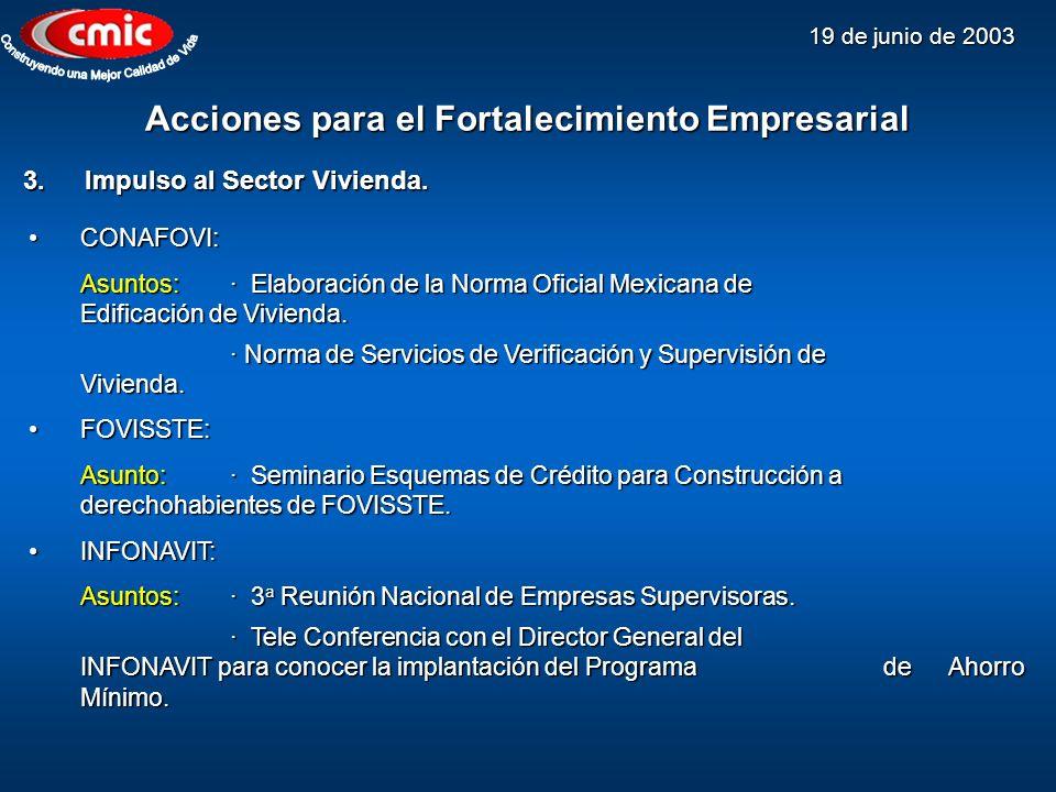 19 de junio de 2003 Acciones para el Fortalecimiento Empresarial 3.Impulso al Sector Vivienda. CONAFOVI:CONAFOVI: Asuntos:· Elaboración de la Norma Of