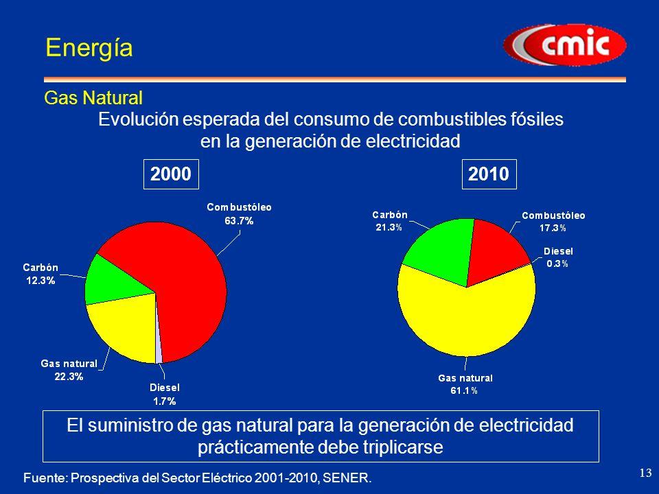13 Energía Gas Natural 20002010 Evolución esperada del consumo de combustibles fósiles en la generación de electricidad Fuente: Prospectiva del Sector Eléctrico 2001-2010, SENER.