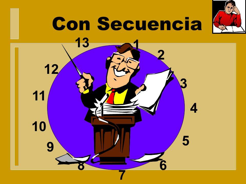 Sin Secuencia 1 2 8 7 6 5 4 3 9 10 (11) 12 13