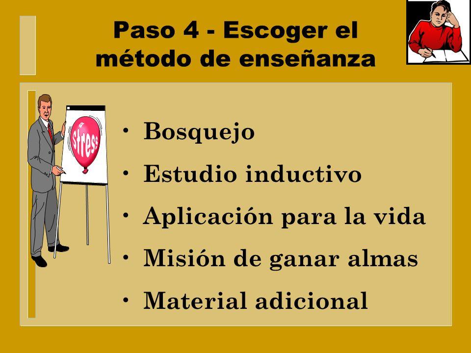 Paso 4 - Escoger el método de enseñanza Desarrollo del conocimiento. Resolución de problemas. Experiencias personales Actitudes e intereses. Habilidad