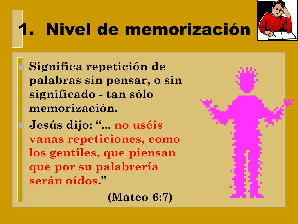 Cuatro niveles de aprendizaje 1.Nivel de memorización 2.Nivel de comprensión de los hechos 3.Nivel de generalizaciones y repeticiones 4.Nivel de aplic