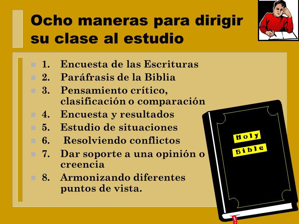 Estimule el estudio diario de la Biblia: n Uso de cuadros y figuras n Tareas para hacerse en casa n Ejercicios de asociación de palabras n Paráfrasis