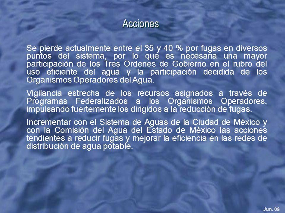 Jun. 09 Acciones Se pierde actualmente entre el 35 y 40 % por fugas en diversos puntos del sistema, por lo que es necesaria una mayor participación de