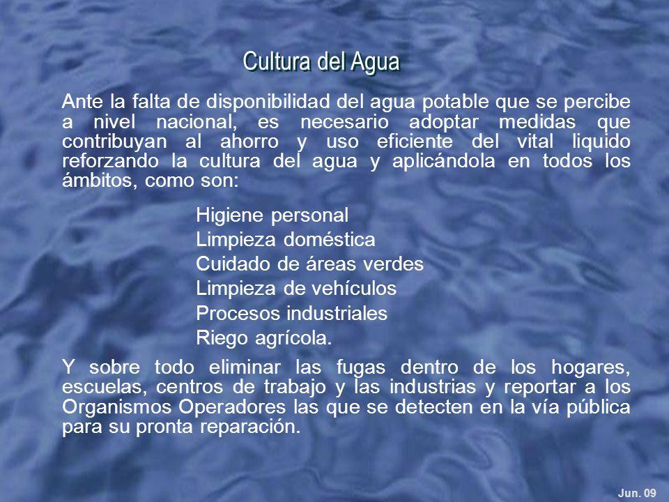 Jun. 09 Cultura del Agua Ante la falta de disponibilidad del agua potable que se percibe a nivel nacional, es necesario adoptar medidas que contribuya