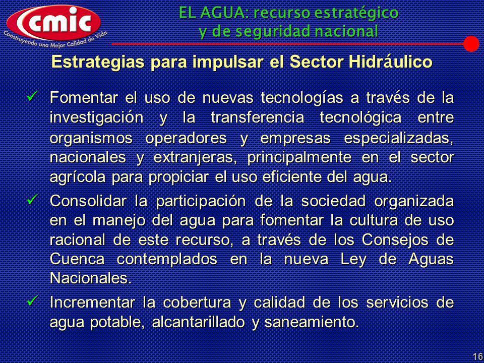 EL AGUA: recurso estratégico y de seguridad nacional 16 Estrategias para impulsar el Sector Hidr á ulico Fomentar el uso de nuevas tecnolog í as a tra