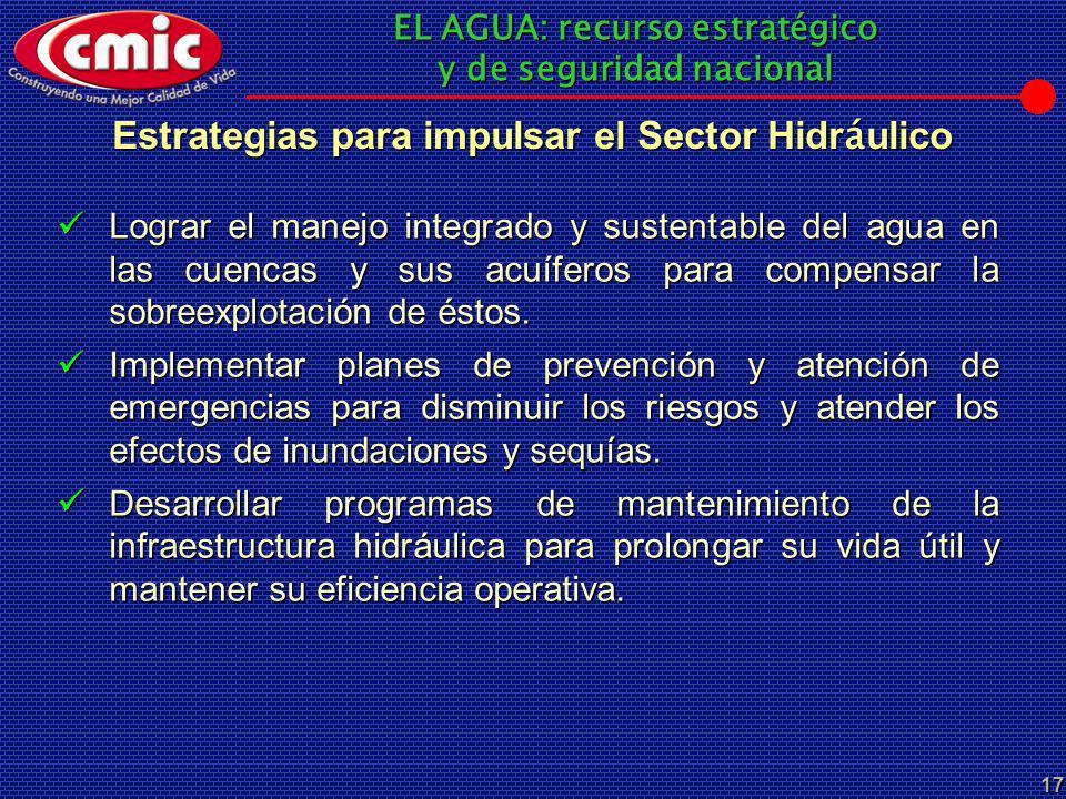 EL AGUA: recurso estratégico y de seguridad nacional 17 Estrategias para impulsar el Sector Hidr á ulico Lograr el manejo integrado y sustentable del