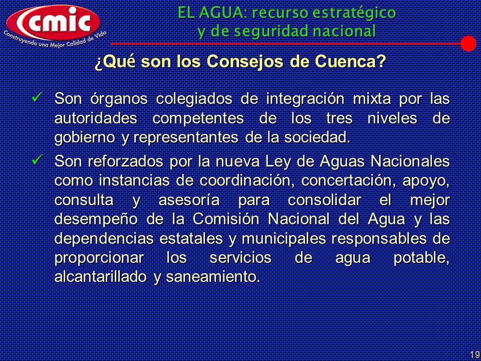 EL AGUA: recurso estratégico y de seguridad nacional 19 ¿ Qu é son los Consejos de Cuenca? Son órganos colegiados de integración mixta por las autorid