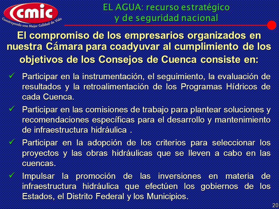 EL AGUA: recurso estratégico y de seguridad nacional 20 El compromiso de los empresarios organizados en nuestra C á mara para coadyuvar al cumplimient