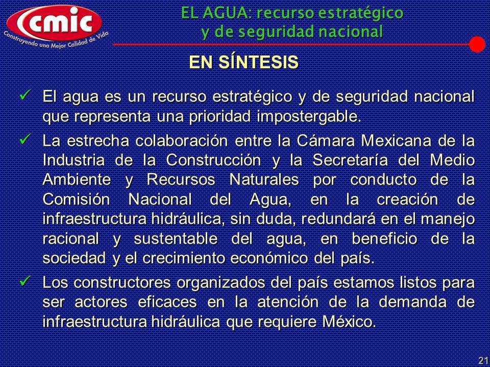 EL AGUA: recurso estratégico y de seguridad nacional 21 El agua es un recurso estratégico y de seguridad nacional que representa una prioridad imposte