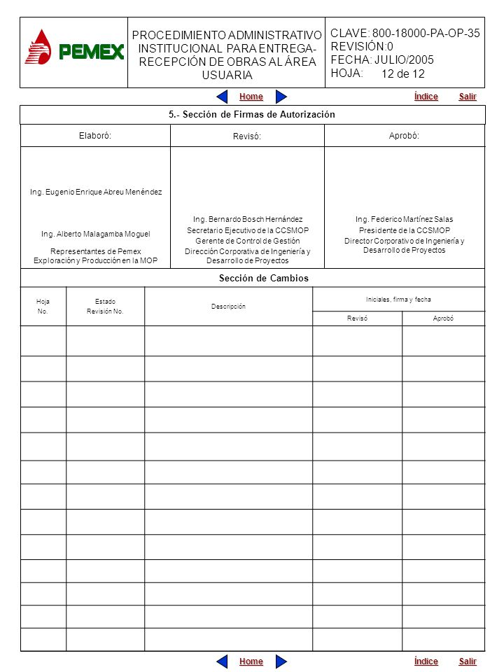 PROCEDIMIENTO ADMINISTRATIVO INSTITUCIONAL PARA ENTREGA- RECEPCIÓN DE OBRAS AL ÁREA USUARIA CLAVE: 800-18000-PA-OP-35 REVISIÓN:0 FECHA: JULIO/2005 HOJ