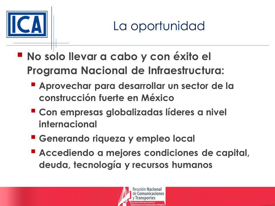 La oportunidad No solo llevar a cabo y con éxito el Programa Nacional de Infraestructura: Aprovechar para desarrollar un sector de la construcción fue