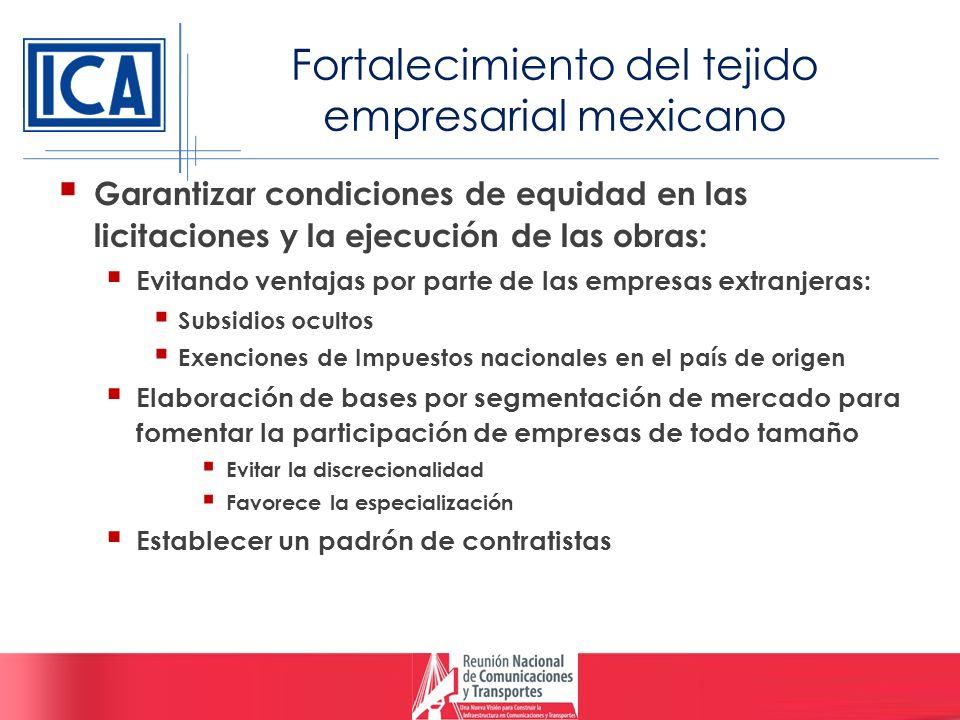 Fortalecimiento del tejido empresarial mexicano Garantizar condiciones de equidad en las licitaciones y la ejecución de las obras: Evitando ventajas p