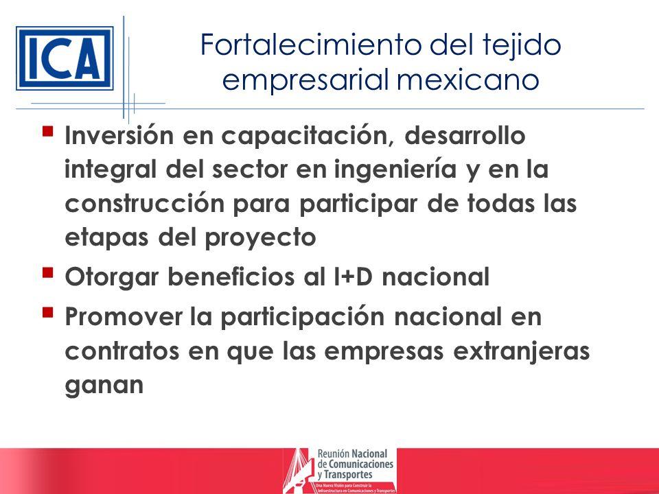 Fortalecimiento del tejido empresarial mexicano Inversión en capacitación, desarrollo integral del sector en ingeniería y en la construcción para part