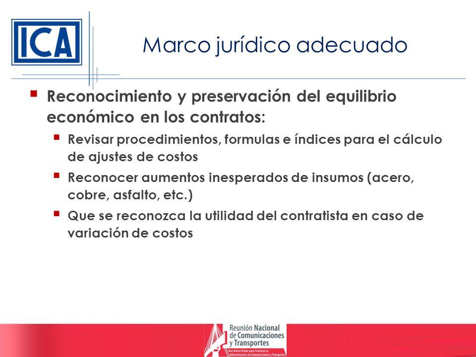 Marco jurídico adecuado Reconocimiento y preservación del equilibrio económico en los contratos: Revisar procedimientos, formulas e índices para el cá