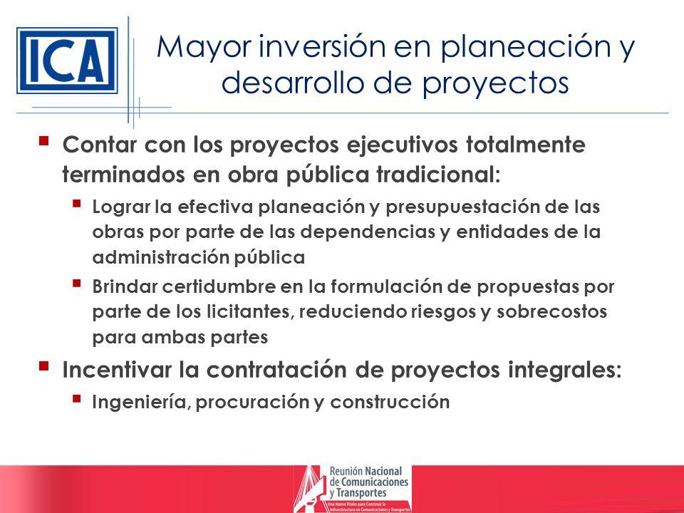 Mayor inversión en planeación y desarrollo de proyectos Contar con los proyectos ejecutivos totalmente terminados en obra pública tradicional: Lograr