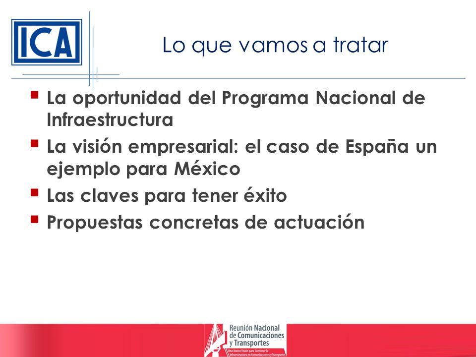 Lo que vamos a tratar La oportunidad del Programa Nacional de Infraestructura La visión empresarial: el caso de España un ejemplo para México Las clav