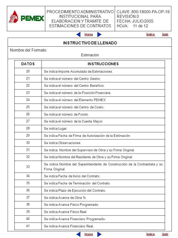 PROCEDIMIENTO ADMINISTRATIVO INSTITUCIONAL PARA ELABORACION Y TRAMITE DE ESTIMACIONES DE CONTRATOS CLAVE: 800-18000-PA-OP-19 REVISIÓN:0 FECHA: JULIO/2