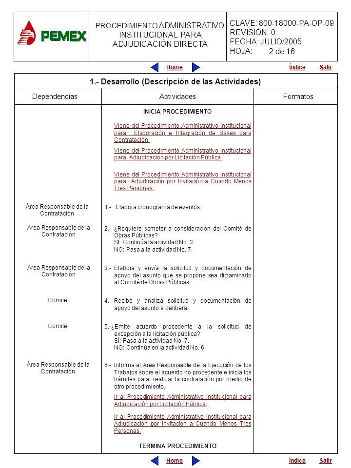 PROCEDIMIENTO ADMINISTRATIVO PARA PLANEACIÓN DE OBRAS Y SERVICIOS CLAVE: 800-18000-PA-OP-09 REVISIÓN: 0 FECHA: JULIO/2005 HOJA: PROCEDIMIENTO ADMINISTRATIVO INSTITUCIONAL PARA ADJUDICACIÓN DIRECTA Home Salir Índice Home Salir Índice Formatos Dependencias Actividades 7.-Invita a participar a la(s) persona(s) seleccionada(s), adjuntando las bases de contratación.