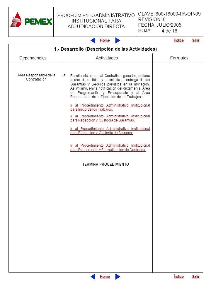 PROCEDIMIENTO ADMINISTRATIVO PARA PLANEACIÓN DE OBRAS Y SERVICIOS CLAVE: 800-18000-PA-OP-09 REVISIÓN: 0 FECHA: JULIO/2005 HOJA: PROCEDIMIENTO ADMINISTRATIVO INSTITUCIONAL PARA ADJUDICACIÓN DIRECTA Home Salir Índice Home Salir Índice 2.
