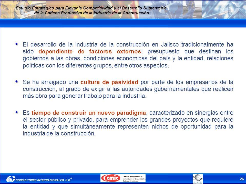 26 Estudio Estratégico para Elevar la Competitividad y el Desarrollo Sustentable de la Cadena Productiva de la Industria de la Construcción El desarro