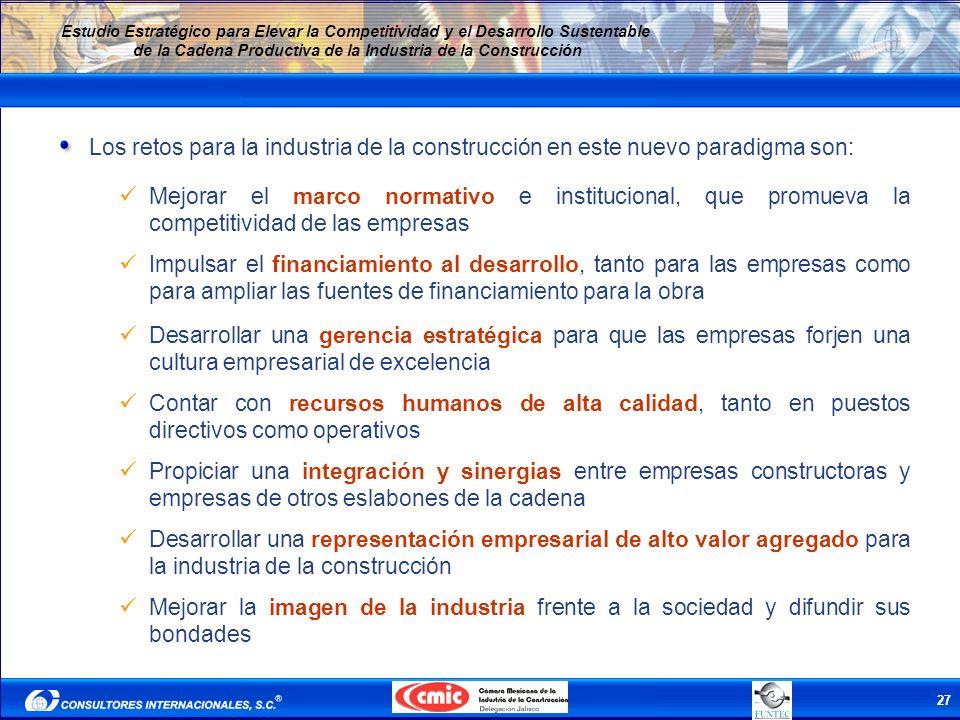 27 Estudio Estratégico para Elevar la Competitividad y el Desarrollo Sustentable de la Cadena Productiva de la Industria de la Construcción Los retos