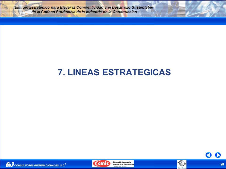 28 Estudio Estratégico para Elevar la Competitividad y el Desarrollo Sustentable de la Cadena Productiva de la Industria de la Construcción 7. LINEAS