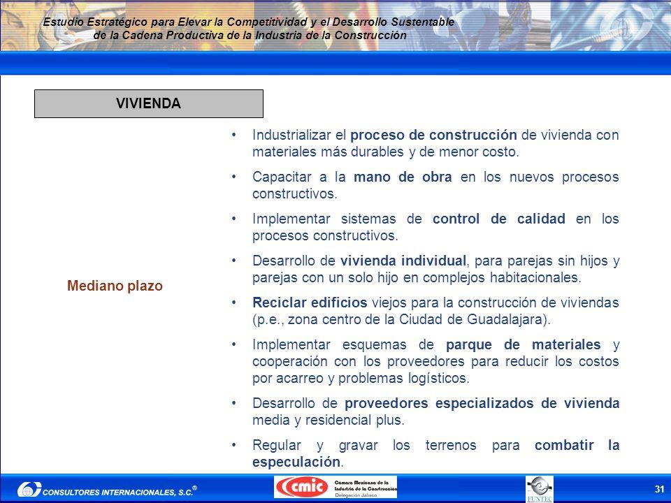 31 Estudio Estratégico para Elevar la Competitividad y el Desarrollo Sustentable de la Cadena Productiva de la Industria de la Construcción VIVIENDA M