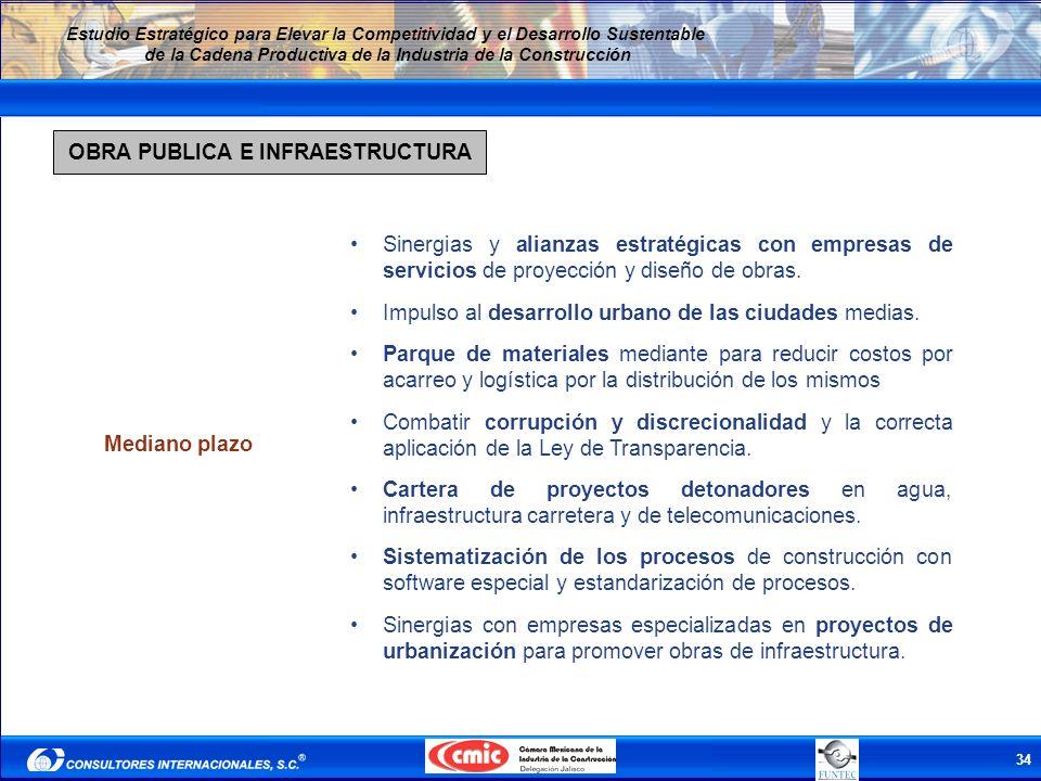 34 Estudio Estratégico para Elevar la Competitividad y el Desarrollo Sustentable de la Cadena Productiva de la Industria de la Construcción OBRA PUBLI
