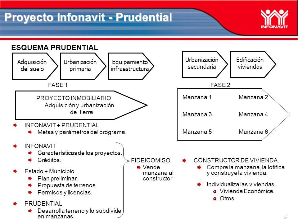 5 Proyecto Infonavit - Prudential ESQUEMA PRUDENTIAL Manzana 1Manzana 2 Manzana 3Manzana 4 Manzana 5Manzana 6 FASE 1 FASE 2 INFONAVIT + PRUDENTIAL Metas y parámetros del programa.