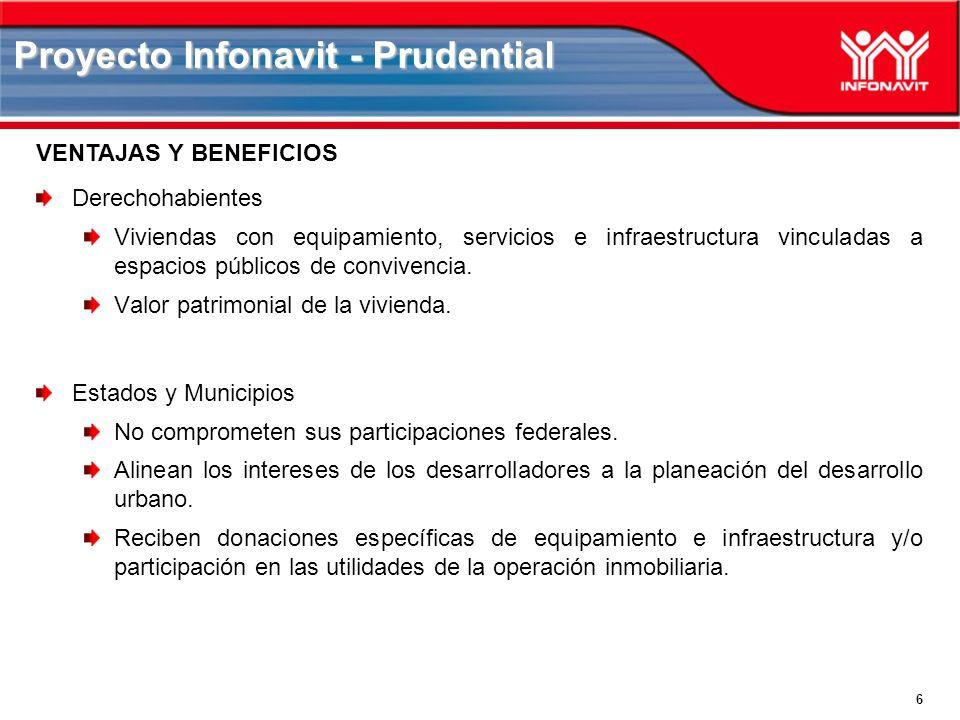 6 Proyecto Infonavit - Prudential Derechohabientes Viviendas con equipamiento, servicios e infraestructura vinculadas a espacios públicos de convivencia.