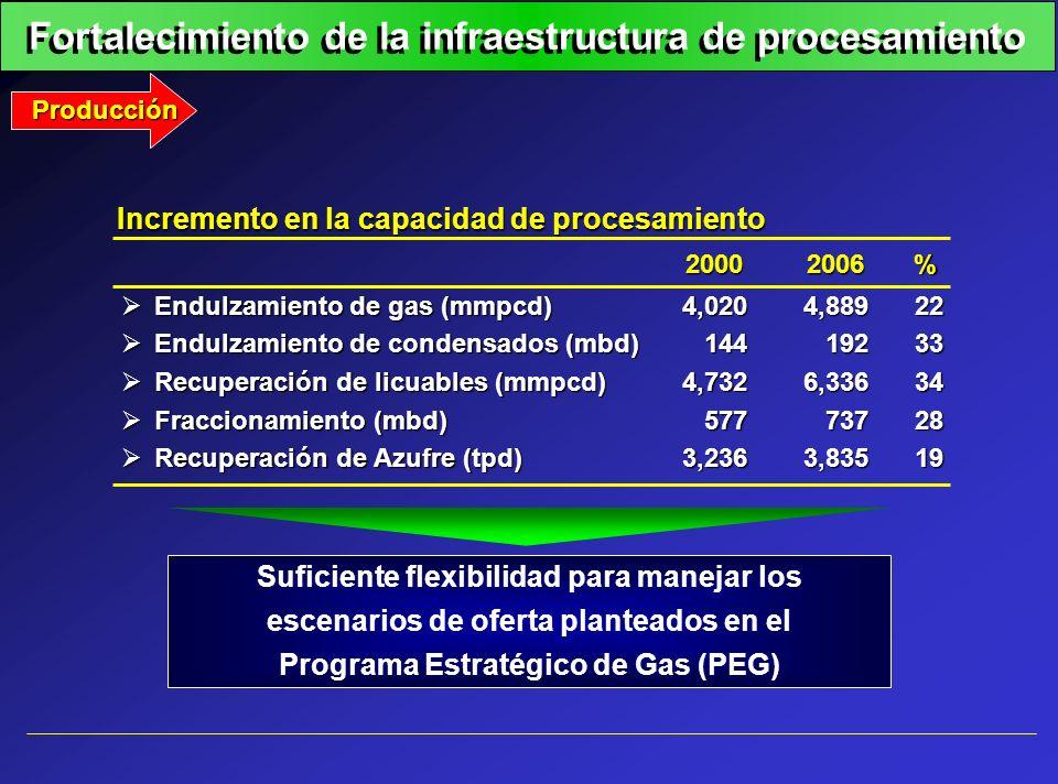 Fortalecimiento de la infraestructura de procesamiento Producción Suficiente flexibilidad para manejar los escenarios de oferta planteados en el Progr