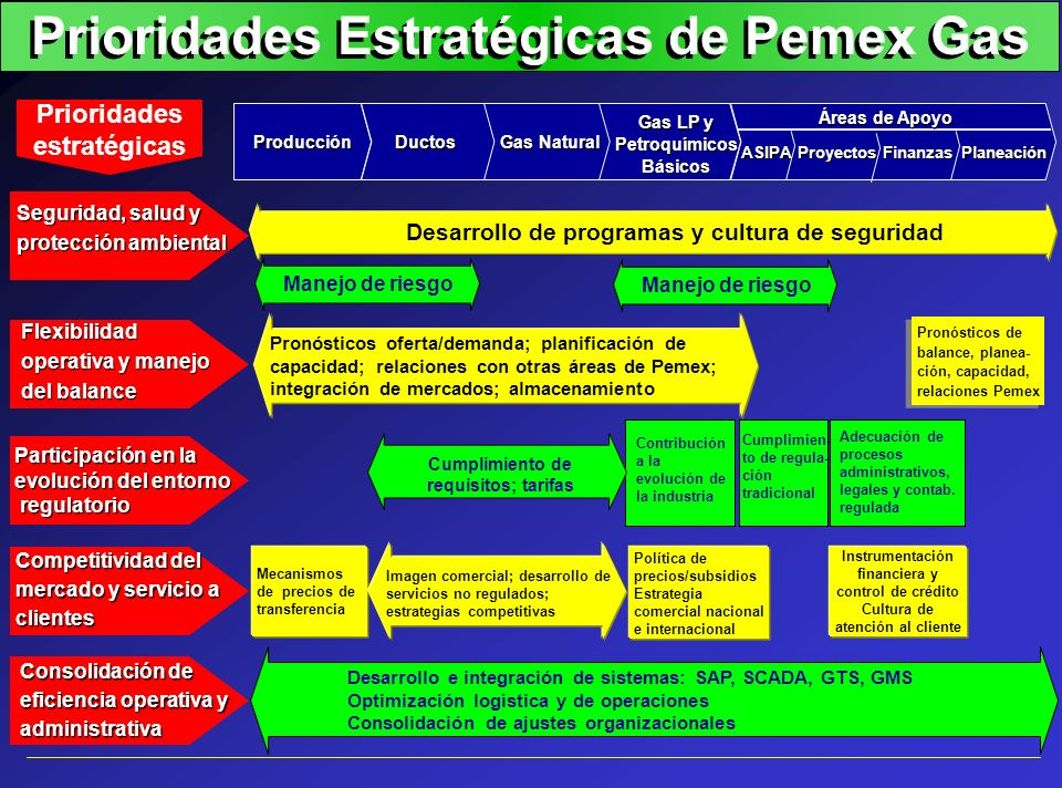 Prioridades Estratégicas de Pemex Gas Pronósticos oferta/demanda; planificación de capacidad; relaciones con otras áreas de Pemex; integración de merc