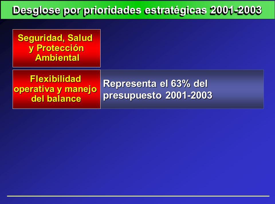 Representa el 63% del presupuesto 2001-2003 Seguridad, Salud y Protección Ambiental Ambiental Flexibilidad operativa y manejo del balance Desglose por