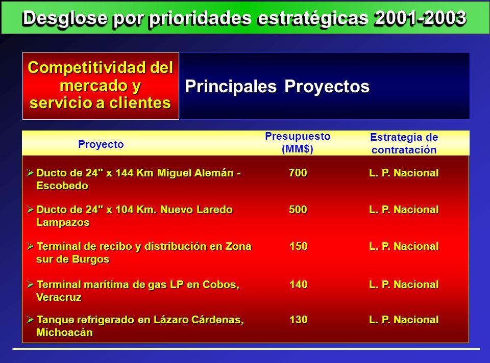 Principales Proyectos Competitividad del mercado y mercado y servicio a clientes Proyecto Estrategia de contratación Presupuesto (MM$) Ducto de 24
