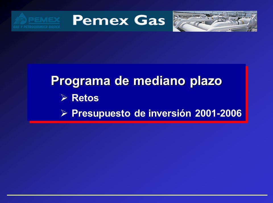 Pemex Gas: retos de mediano plazo Producción Suficiente flexibilidad para manejar de manera eficiente y segura los escenarios de oferta planteados en el Programa Estratégico de Gas (PEG) Transporte Satisfacer la demanda acelerada de transporte de gas natural y gas licuado Gas Natural Enfrentar competitivamente la apertura del mercadoEnfrentar competitivamente la apertura del mercado Ser un participante importante en el mercado de América del NorteSer un participante importante en el mercado de América del Norte Gas Licuado y Petroquímicos Básicos Prepararse para competir en un nuevo entorno de mercadoPrepararse para competir en un nuevo entorno de mercado Fortalecer la comercialización de petroquímicos básicosFortalecer la comercialización de petroquímicos básicos