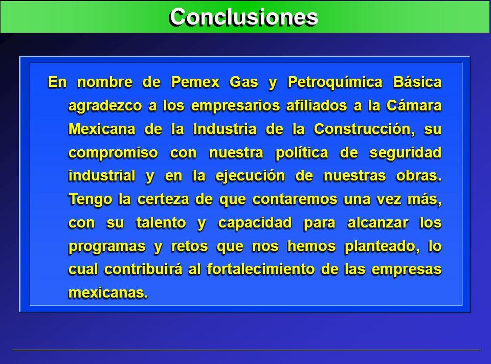 Conclusiones En nombre de Pemex Gas y Petroquímica Básica agradezco a los empresarios afiliados a la Cámara Mexicana de la Industria de la Construcció