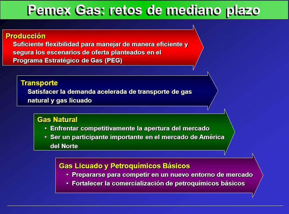 Sector eléctrico: incrementos en la demanda de gas natural Chihuahua II Rosarito III (8 y 9) Río Bravo II HermosilloSaltillo Valle de México U4 Tuxpan II Bajío (El Sauz) Monterrey III Altamira II Chihuahua TG (P Contg.) El Sáuz II U2 Tuxpan V Noroeste I (Agua Prieta II) Altamira VI (Tamazunchale) Altamira VII (Tamazunchale II) Matamoros I (Río Bravo IV) Baja California I Noroeste II (Agua Prieta III) Poza Rica I (Tamazunchale III) Altamira VIII (Tamazunchale IV) Norte I (Durango I) Norte II (Durango II) Chihuahua III Campeche Rosarito IV (10 y 11) Naco-Nogales (Agua Prieta) Tuxpan III Tuxpan IV Altamira III Altamira IV La Laguna II U1 La Laguna II U2 Altamira V Río Bravo III Millones de pies cúbicos por día 2000200220042006 TACC: 17.3% Demanda