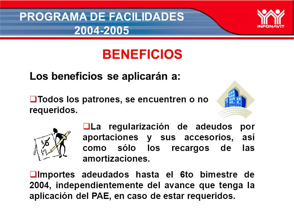 PROGRAMA DE FACILIDADES 2004-2005 Los beneficios se aplicarán a: BENEFICIOS Todos los patrones, se encuentren o no requeridos.
