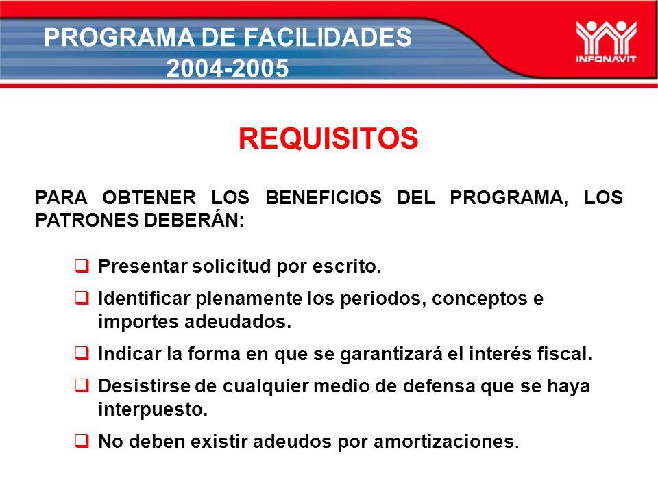 PROGRAMA DE FACILIDADES 2004-2005 REQUISITOS PARA OBTENER LOS BENEFICIOS DEL PROGRAMA, LOS PATRONES DEBERÁN: Presentar solicitud por escrito.