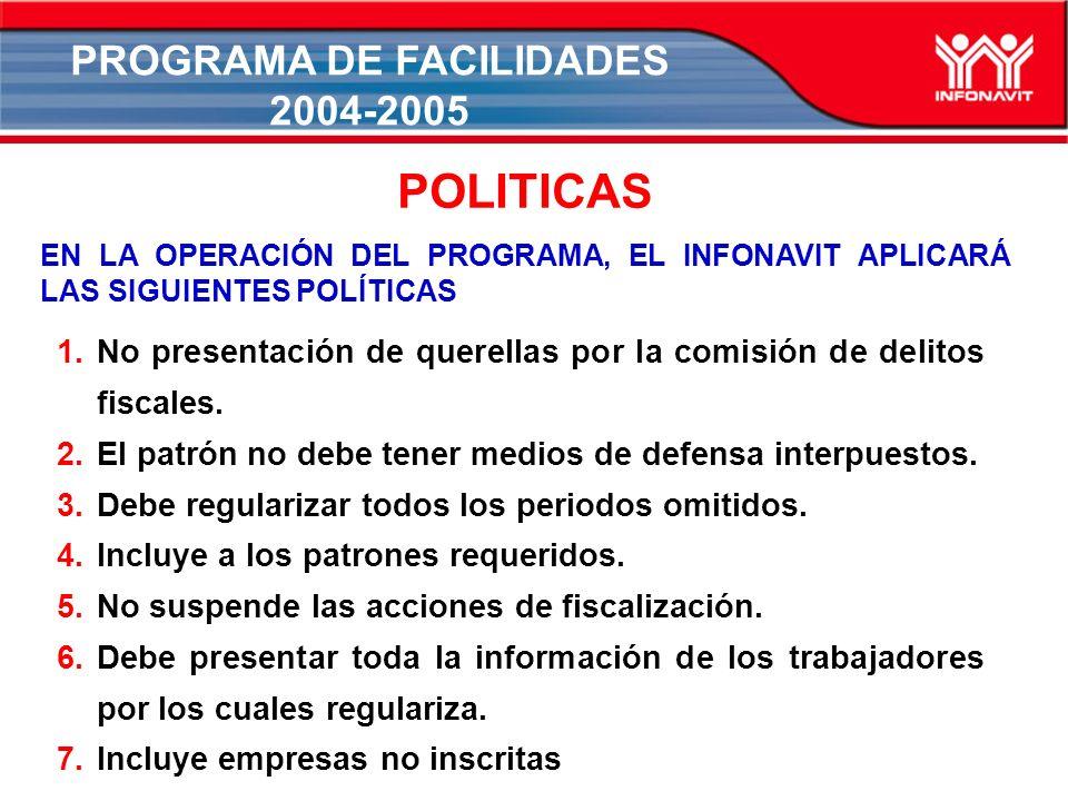 PROGRAMA DE FACILIDADES 2004-2005 1.No presentación de querellas por la comisión de delitos fiscales.
