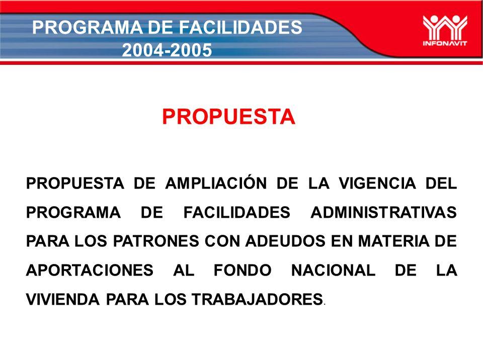 PROGRAMA DE FACILIDADES 2004-2005 PROPUESTA DE AMPLIACIÓN DE LA VIGENCIA DEL PROGRAMA DE FACILIDADES ADMINISTRATIVAS PARA LOS PATRONES CON ADEUDOS EN MATERIA DE APORTACIONES AL FONDO NACIONAL DE LA VIVIENDA PARA LOS TRABAJADORES.