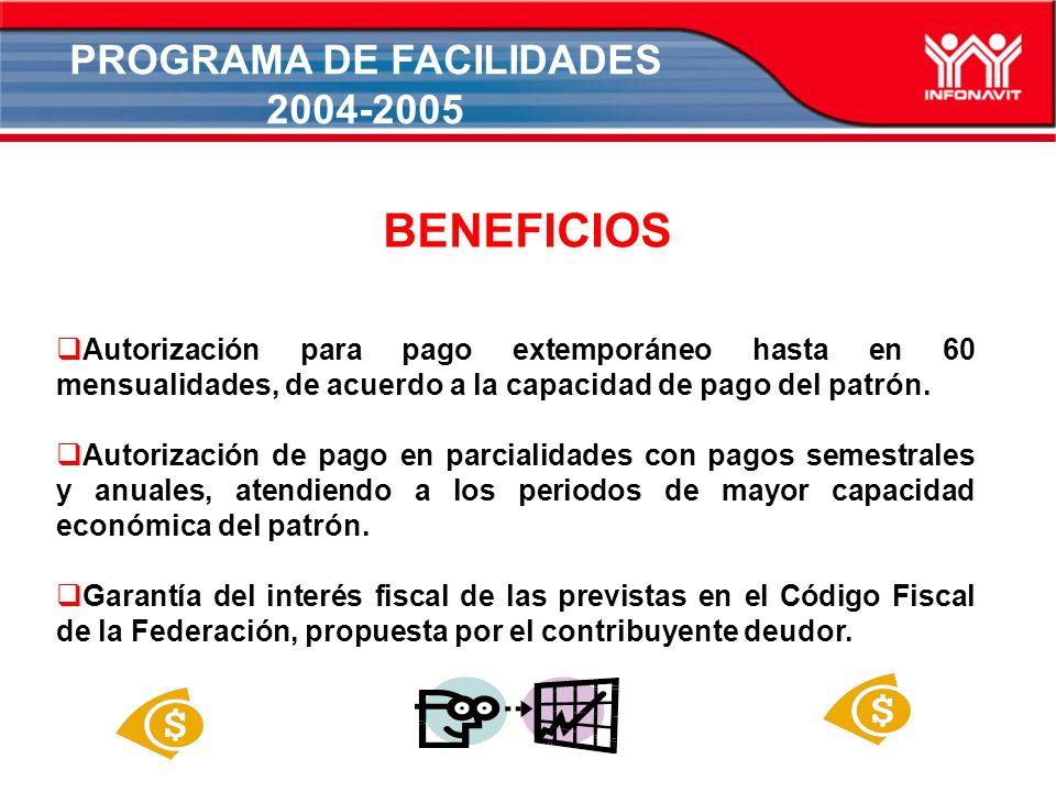PROGRAMA DE FACILIDADES 2004-2005 Autorización para pago extemporáneo hasta en 60 mensualidades, de acuerdo a la capacidad de pago del patrón.