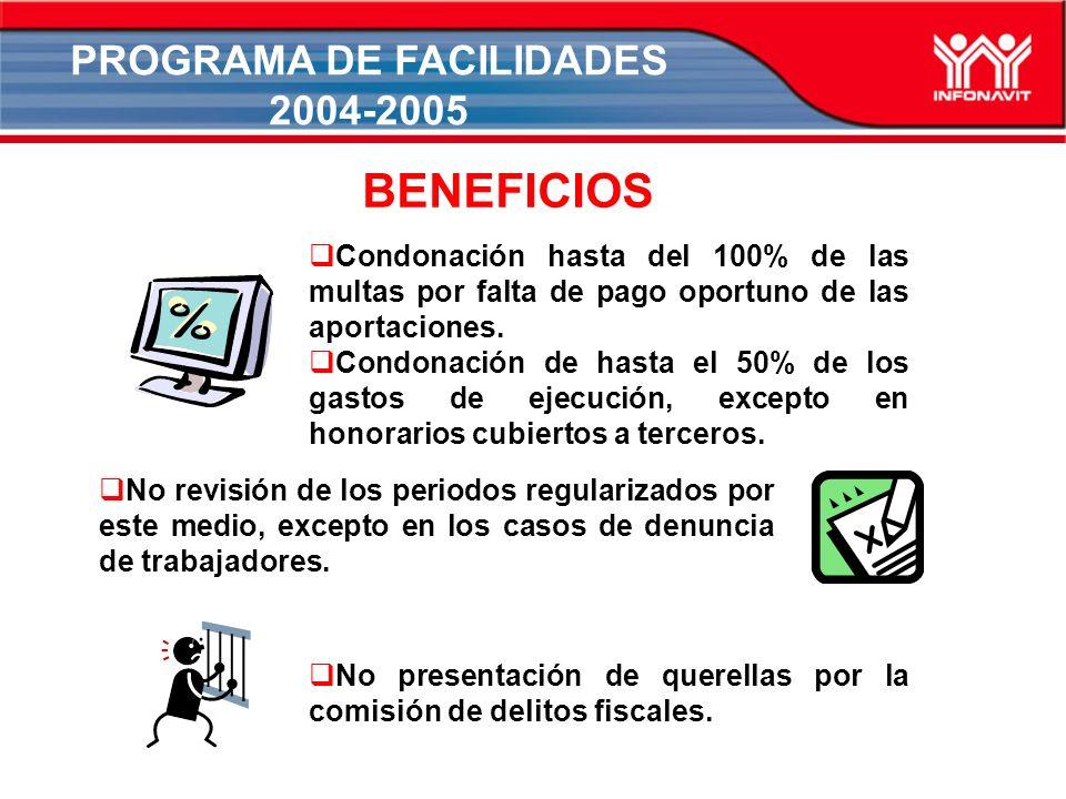 PROGRAMA DE FACILIDADES 2004-2005 BENEFICIOS No revisión de los periodos regularizados por este medio, excepto en los casos de denuncia de trabajadores.