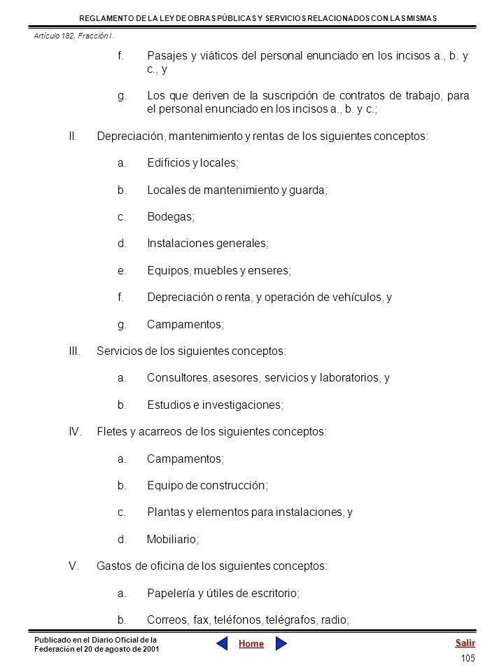 105 REGLAMENTO DE LA LEY DE OBRAS PÚBLICAS Y SERVICIOS RELACIONADOS CON LAS MISMAS Home Salir Publicado en el Diario Oficial de la Federaci ó n el 20