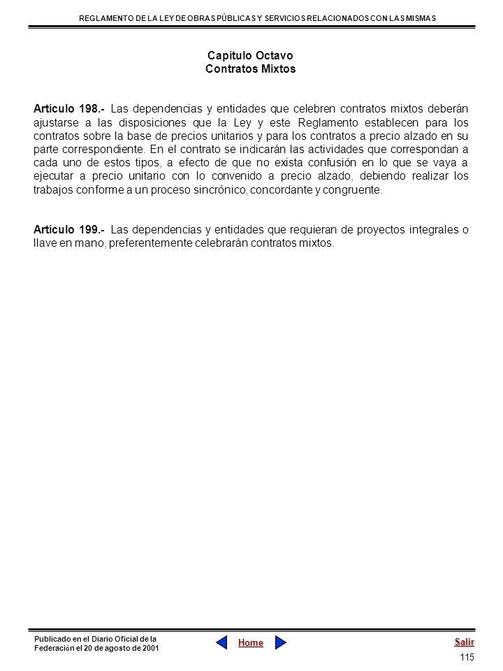 115 REGLAMENTO DE LA LEY DE OBRAS PÚBLICAS Y SERVICIOS RELACIONADOS CON LAS MISMAS Home Salir Publicado en el Diario Oficial de la Federaci ó n el 20