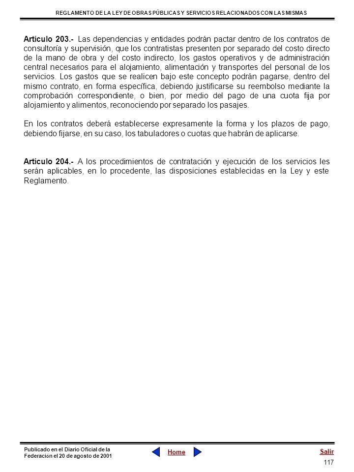 117 REGLAMENTO DE LA LEY DE OBRAS PÚBLICAS Y SERVICIOS RELACIONADOS CON LAS MISMAS Home Salir Publicado en el Diario Oficial de la Federaci ó n el 20